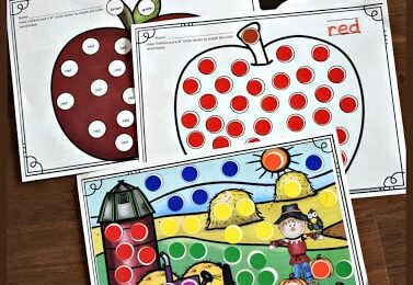 Kids love stickers and these free printable fall sticker worksheets help children learn color names, practice color matching, pincher grasp, and strengthening fine motor skills. This is the perfect free worksheet for sticker loving toddler, preschool, pre k, kindergarten, and first grade students.