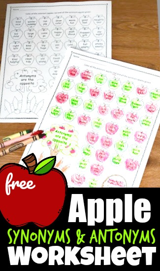 Make practicing grammar fun with this fun apple themed educational activity for first grade, 2nd grade, 3rd grade, and 4th grade students. Simply download the pdf file and print the pack of Synonyms and Antonyms Worksheet. You will love that this is a free worksheet to make learning fun for parents, teachers, and homeschoolers.