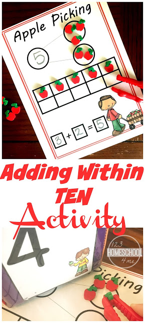 FREE Apple Number Bonds - this free printable math activity will make practicing adding, addition, ten frames and more preschool / kindergarten math fun with a fall / apple theme. #apple #numberbonds #kindergarten