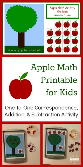 FREE Apple Math for Kids - this free printable activity is a fun math activity for preschool, prek, and kindergarten age kids to practice addition, counting, subtraction, and one to one correspondence #apple #preschool #kindergarten