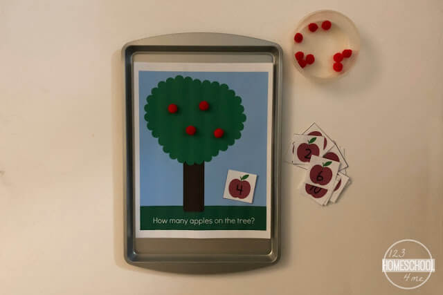 apple counting game for preschool