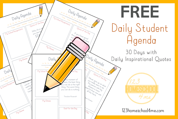 graphic regarding Daily Agenda known as Cost-free Homeschool Plan Planner 123 Homeschool 4 Me