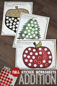 Addition Worksheets with circle stickers for fall