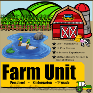 so many worksheets, games, activities, science experiments, life cycle, and more for learning math and literacy on the farm with preschool, Kindergarten, and first grade