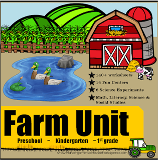 HUGE Farm Unit for Preschool, Kindergarten, and 1st grade