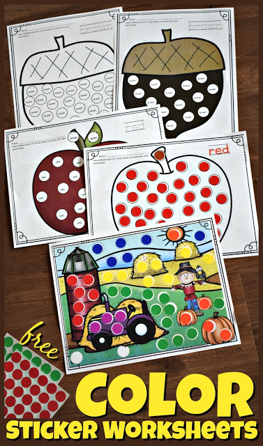 FREE Fall Color Sticker Worksheets - these free printable sheets are NO PREP and perfect for kids learning colors! Use them in color or black and white to work on color recognition, learning color words,  and are great for strengthening fine motor skills. #colorwords #worksheets  #preschool