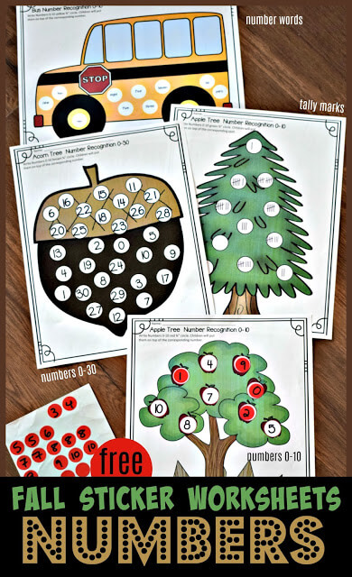 Number Circle Sticker Worksheets
