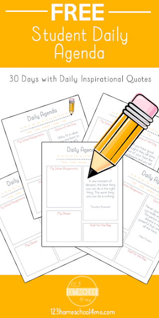 FREE Homeschool Schedule Planner - this free printable is great for helping students become more independent by providing daily agenda with 30 inspirational quotes.  #homeschool #homeschooling