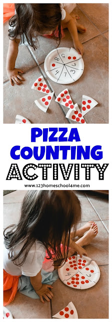 FUN hands-on PIZZA COUNTING ACTIVITY - such a creative math activity for toddler, preschool, and kindergarten age kids to practice early math! #kindergarten #preschool #toddler #math #mathisfun #counting #pizze #educationalactivity