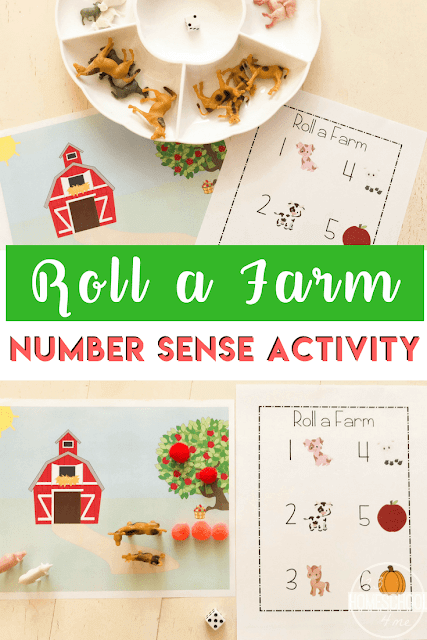 FREE Roll a Farm Number Sense - this fun, free printable math activity helps preschool, prek, and kindergarten age kids practice math and identifying numbers and counting. #counting #numbersense #farmunit