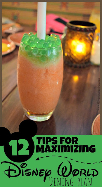 12 Tips for Maximizing Disney World Dining Plan - great tips and tricks to save you LOTS of money and get the most bank out of your dining plan so you eat the BEST food #disney #disneyworld #disneyworldfood #disneyvacation #disneyworldtips #disneydiningplan #familyvacation
