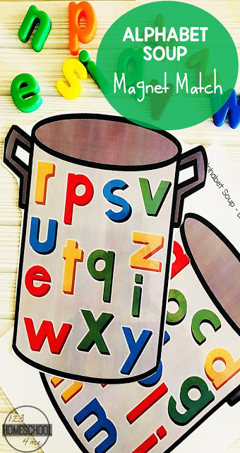 FREE Alphabet Soup - really fun, letter printable to use with alphabet magnet! This letter recognition activity for preschool, kindergarten, and first grade kids #prek #kindergarten #alphabetsoup