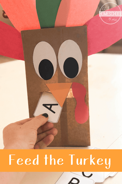 Feed the Turkey Educational Activity - this super cute turkey craft and activity is great for helping toddler, preschool, prek, and kindergarteners practice alphabet letters, math games, and more #turkey #turkeycrafts #turkeyactivities