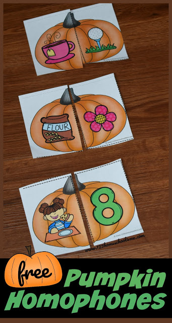 FREE Pumpkin Homophone Puzzles - these free printable, fall themed language arts activity for first grade, 2nd grade, 3rd grade, and 4th grade kids. #pumpkins #homophones #3rdgrade