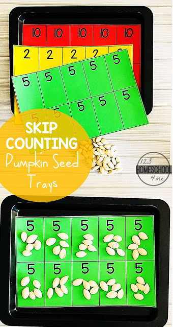 Pumpkin Seed Skip Counting - this fun, free printable skip counting activity is a fun way for kindergarten and first grade kids to practice counting by 2s, 5s, and 10s. Fall themed math center #skipcounting  #kindergarten #math