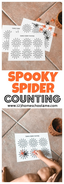 FREE Spooky Spider Counting Game - this fun, free printable game offers toddler, preschool, kindergarten, and first grade kids a fun way to practice counting during october and halloween. #kindergarten #preschool #math