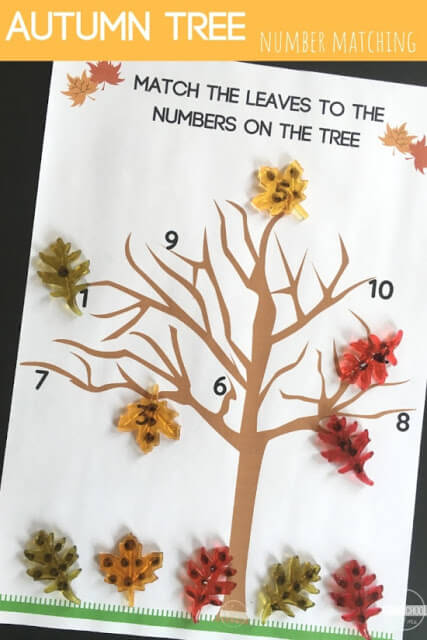 Here is a fun fall tree number matching activity, perfect for Fall! This free printable number recognition activity is fun for preschool, pre k, and kindergarten age students.