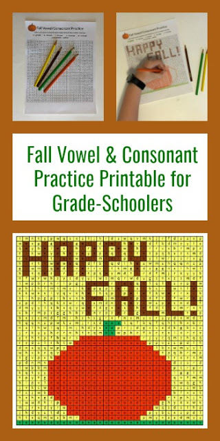 FREE Fall Vowel & Consonants Coloring Pages - fun activity for kindergarten, first grade to practice identifying #vowels #consonants