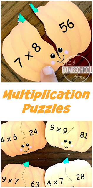 These super cute and free printable pumpkin multiplication puzzle are such a fun way for 3rd grade, 4th grade, 5th grade, and 6th grade students to practice and review multiplication facts for 5, 6, 7, 8, and 9. This pumpkin themed math activity is perfect for a math center in October.