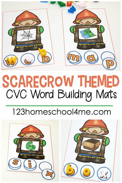 FREE Scarecrow CVC Words Mat - these free printable fall themed mats are a fun way for kids to practice sounding out words to listen for the letters that spell these sight words. Perfect fall center, educational activity, and freebie fro preschool, kindergarten, first grade #cvcwords #kindergarten #literacy