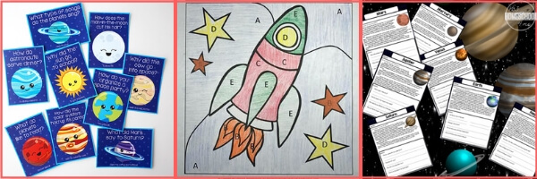 space themed grammar, writing, reading, language arts