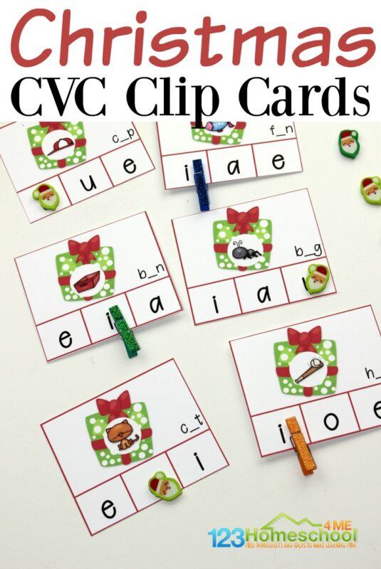 This holiday season, engage your beginning readers with some hands-on reading practice. They'll work on reading simple words with this free printable Christmas cvc words Clip Cards. Simply download pdf file withChristmas Printables and cut apart. This literacy activity for preschool, pre-k, kindergarten, and first grade is such a fun way to sneak in some Christmas Learning during December!