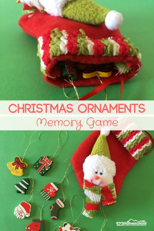 Christmas Ornaments Memory Game - this is such a fun NO PREP activity to help toddler, preschool, kindergarten, and even first graders with improving their memory. No fancy supplies needed! Just a fun Christmas game for kids #christmasgames #christmasmemory #christmasactivity #toddler #preschool #kindergarten