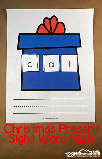 Make learning fun during the holiday season in December with this super cute Christmas Present word mat. Simply print the freeChristmas printables and the letter tiles and preschool, pre-k, kindergarten, and first grade students will have fun making cvc words to practice reading during the holidays.