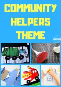 Community Helpers Theme - so many fun, educational activities and ideas for a weekly theme about neighborhood helpers including police, firefighter, garbage collectors, doctors, postal workers, and more. #themes #preschool #kindergarten
