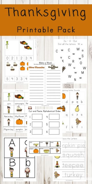 FREE Thanksgiving Printable Pack - kids will have fun learning this November with these free thanksgiving themed worksheets for kids. Practice alphabet letters, numbers, counting, beginning letter sounds, alphabetical order, thanksgiving keywords and more for toddler, preschool, kindergarten, first grade, 2nd grade. #thanksgiving #preschool #kindergarten