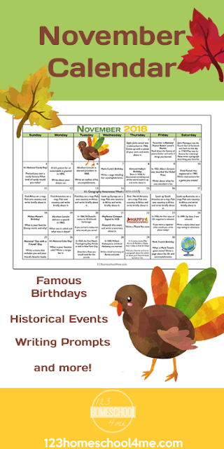 Help inspire kids with fun ideas to keep writing all month with this November writing prompts calendar. This free printable creative writing prompts calendar is perfect for kindergarten, first grade, 2nd graders, 3rd graders, and 4th graders. This month you can fill each day with a famous birthday, fun fact, or historical even all tied to a writing prompt with this Free November Calendar.
