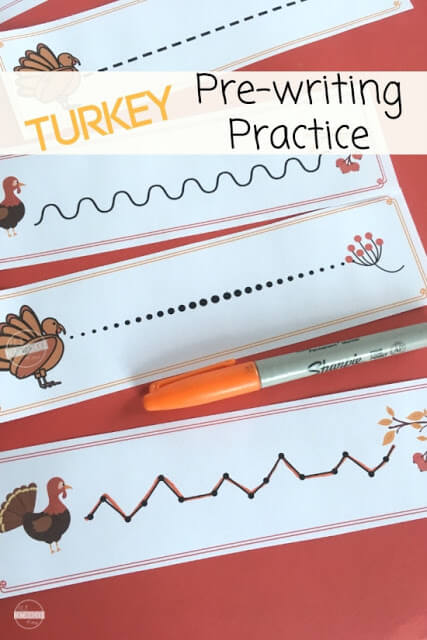 FREE Turkey Pre Writing Practice Strips - toddler, preschool, and kindergarten age kids will have fun practicing forming lines and strengthening motor skills with these free printable strips. You will love adding these to your upcoming turkey or thanksgiving theme. #preschool #prewritingpractice #turkey