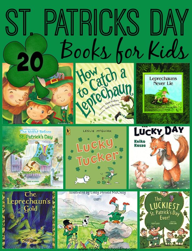 20 FUN St. Patricks Day Books for kids - so many clever, unique stories about leprechauns, gold, folk tale, and so much more. #stpatricksday #bookrecommendations #booklist #stpatricksdaybooks #preschool #kindergarten #picturebooks