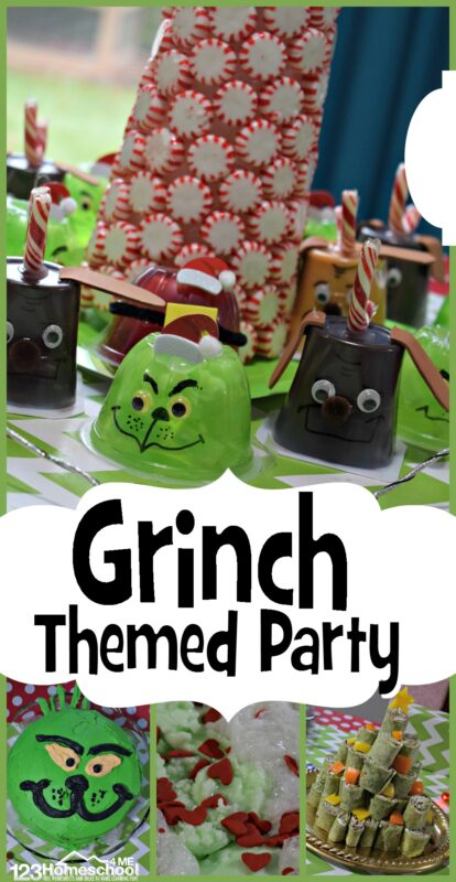Grinch Theme Party - This super cute and easy to makegrinch themed party is sure to be a hit for classroom parties, preschool fun, or a December birthday party ideas. From Grinch snacks like green grinchy jello to Max puding cups, Grinch craft decorations like a peppermint twist Christmas Tree, and Grinch Activities for December - this is sure to be a huge kit!