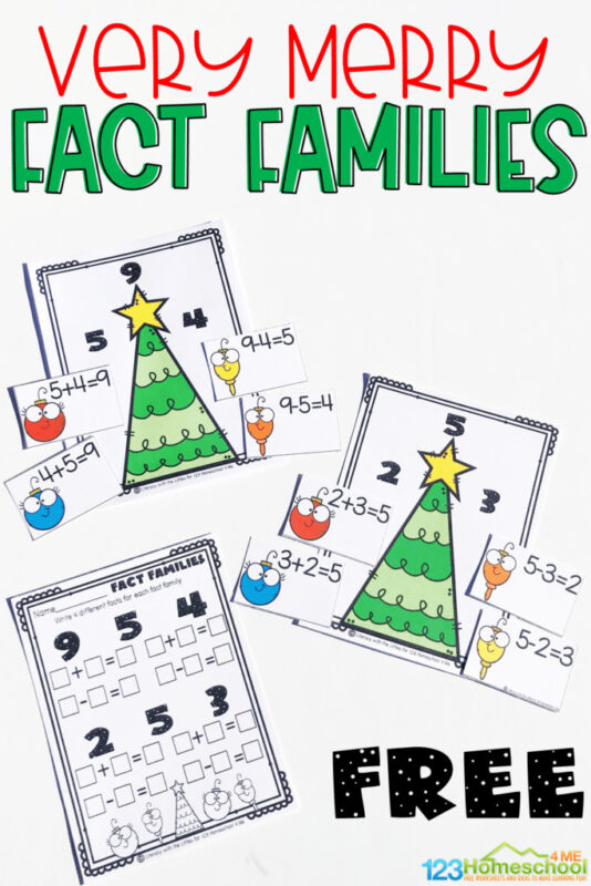 Looking for a festive way to practice fact families? This hands-on Christmas Fact Families activity allows first grade, 2nd grade, and kindergarten age children practicing addition and subtraction within 10. This free Christmas Printables combines both a hands-on activity and Christmas Math Worksheetsthat makes learning both fun and engaging with Christmas trees and ornaments.