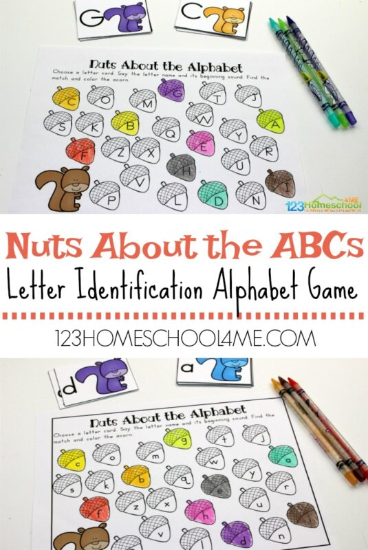 FREE Nuts About the Alphabet Game - this is a fun, free printable letter game for kids working on letter recognition. This LOW PREP activity makes ti fun for kids to practice recognizing uppercase and lowercase letters with a fall educational activity for preschool, prek, and kindergarten age kids #alphabet #abcs #letterrecognition #preschool #kindergarten #freeworksheets