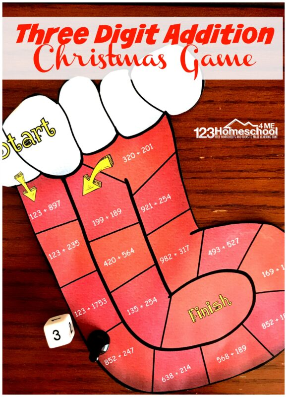 FREE Stocking Three Digit Addition Game - this is such a fun way for kids to practice Christmas math to improve addition fluency while having fun in December. #christmaslearning #christmasmath #addition #2ndgrade #3rdgrade #mathgame