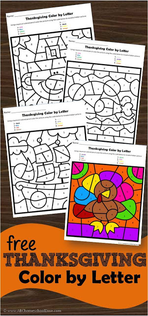 FREE Thanksgiving Color by Letter - these free thanskgiving printables are a fun way for presk and kindergarten kids to practice alphabet recognition while at the same time strengthening fine motor muscles as kids color by code to reveal hidden pictures #thanksgiving #colorbycode #alphabet