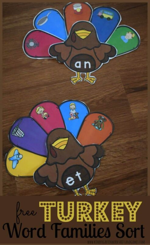 FREE Turkey Word Families Sort - this is such a CUTE thanksgiving literacy activity for kindergarten and first grade students. This reusable, free printable word family activity makes it fun for kids to practice in November #literacy #kindergarten #wordfamilies #free