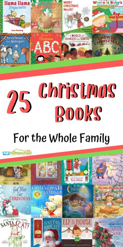 25 Christmas Books for the Whole Family - so many great book recommendations for families to read together during the month of December. Good mix of santa, elves, trees, nativity, snow, and more for preschool kindergarten, toddler, and more. #booksforkids #bookrecomendations #christmas #christmasbooks