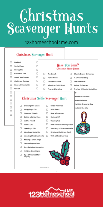FREE Christmas Scavenger Hunts - kids of all ages will have fun with this free printable Christmas games. This is a great activity for familys and kids of all ages #scavengerhunts #christmasgames #christmas #preschool #familyfun #kindergarten