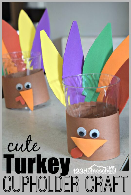super cute turkey cupholder craft makes a great decoration for your Thanksgiving table. So pull out your construction paper, scissors, and googly eyes and have fun making this turkey craft with cup and feathers. This is such a fun thanksgiving craft for toddler, preschool, pre k, kindergarten, and first grade students.