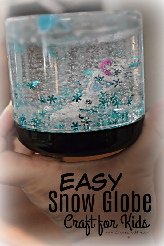 Easy SNOW GLOBE Craft for Kids - super cute, fun to make winter craft for kids of all ages! Just a couple simple steps and you will have your own diy snow globe craft thatwill amaze toddler, preschool, kindergarten, and children of all ages!