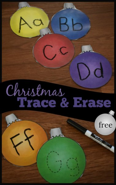 FREE Christmas Bulb Trace & Erase