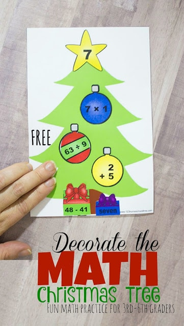 Decorate the Math Christmas Tree - addition, subtraction, multiplication, and division practice