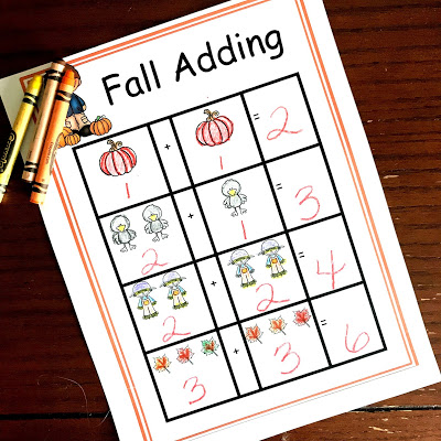 fall adding printable