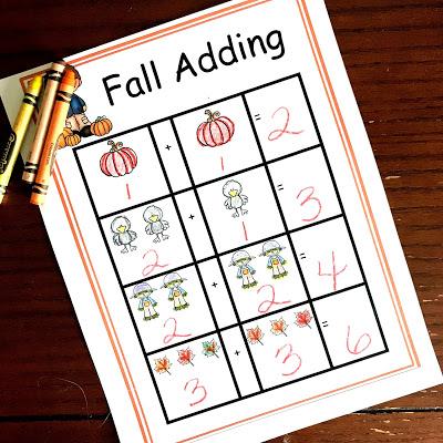 fall adding printable