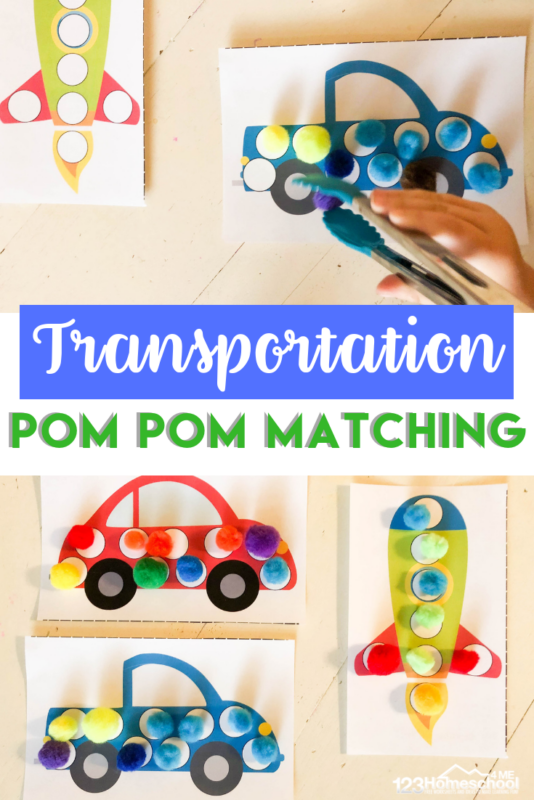 FREE Transportation Pom Pom Matching - cute, free printable worksheets for toddler, preschool, and kindergarten age kids strengthen fine motor skills, color recognition, and more with a fun cars and transportation theme #preschool  #pompoms #finemotorskills #colors