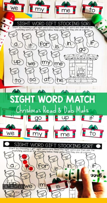 FREE Christmas Sight Words Activity - kids will have fun practicing sight words with these read and dab mats! The free pritnable is editable so you can work on whatever words you'd like. These can work as Christmas sight word coloring sheets too if you don't want to use bingo markers. #sightwords #chrsitmasadctivity #preschool #kindergarten #preschoolsightwords #kindergartensightwords #christmaslearning