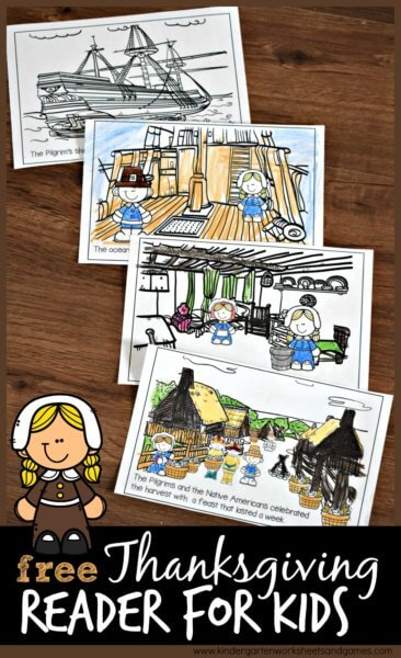 Free First Thanksgiving Emergent Reader - this free printable reader will help kids learn about the first thanksgiving. Cute illustrations, make your own book Thanksgiving activity for kindergarten, first grade, 2nd grade, 3rd grade #thanksgiving #thanksgivingactivity #firstthanksgiving #emergentreader #kindergarten #firstgrade #2ndgrade #3rdgrade